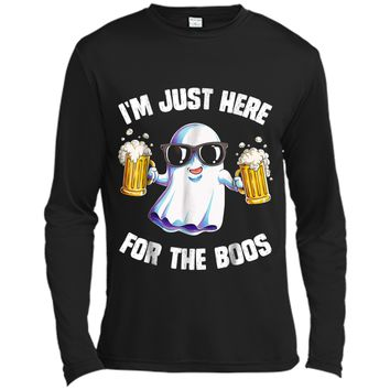 I'm Just Here For The Boos Halloween Men Funny Ghost Long Sleeve Moisture Absorbing Shirt