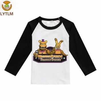 LYTLM Bobo Choses 2018 Winter  Boys T-shirt Cool Long Five Night at Freddy Kids Clothes Girls Tops Size 10 12