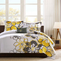 Queen Size 4 Piece Comforter Set with Yellow Grey Floral Pattern