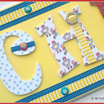 Children's Custom & Personalized Name Plaques - Kids Name Sign - Nursery Door Sign - Wall Letters - Made to Order - Any theme color pattern