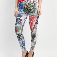 Topia Multi-Color Magazine Print Leggings