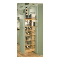 "Rev-A-Shelf 448-TP58-5-1 58"" Tall x 5"" Wide Wood Pull Out Pantry with Heavy Duty Slide and 6 Adjustable S, Natural Wood"