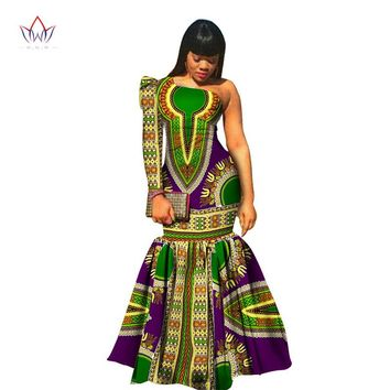 African Clothes for Women Dashiki Vestidos African Bazin Riche Dress for Women Cotton Print Mermaid Long Dress
