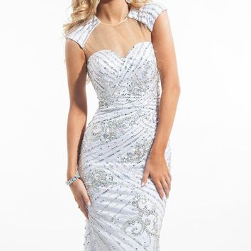 Prima Donna by Rachel Allan 5761 Sequin Cap Sleeve Illusion Sweetheart Dress