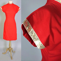 Vintage 50s Dress 1950s Red Cheongsam Asian Metal Zipper Chinese Dress with Gold Ribbon XS S