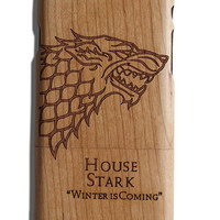 Winter is Coming House Stark Game of Thrones wolf fan art laser print Iphone 5 /5s/ 6/6s wooden engraved bamboo phone case cover