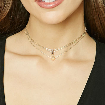Geo-Shaped Pendant Choker Set