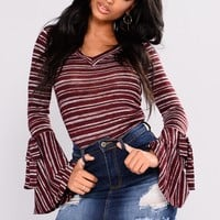 Elaine Bell Sleeves Top - Burgundy Combo