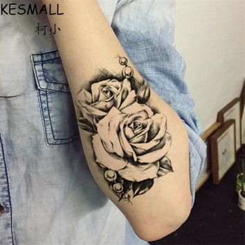 KESMALL 5PCS 3D Black Rose Waterproof Fake Tattoo Sticker Tatouage Temporary Flash Tattoos 15*10.5cm Fashion Body Stickers CO719