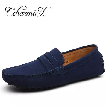 Men Casual Suede Black Solid Leather Driving Moccasins Slip on Men Formal Shoes Male Dress