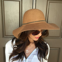 Brim Chain Floppy Hat - Camel Brown
