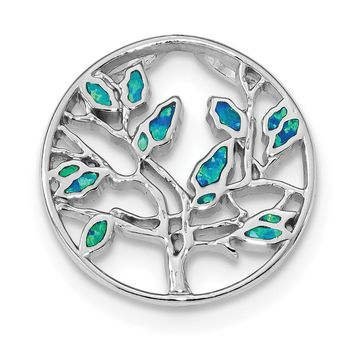 925 Sterling Silver Rhodium Plated Blue Created Opal Tree Shaped Pendant