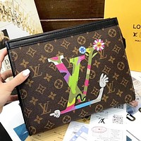 LV Louis Vuitton New fashion monogram tartan leather cosmetic bag file package Coffee
