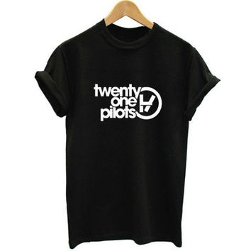Women's Letter Print Twenty One Pilots Casual Short Sleeve Top T-shirt [9325955204]
