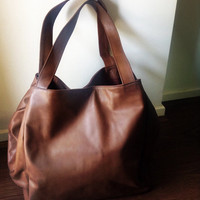 Large leather tote bag - Soft shoulder leather tote - Travel large leather tote.