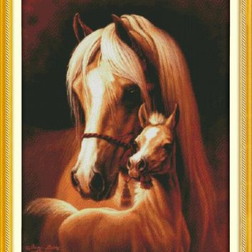 Deep love of the horse mother and her baby cross stitch kits white printed embroidery DIY handmade needle work wall home decor