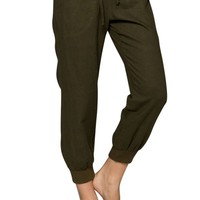 Casual Capri Linen Elastic Waist Drawstring Woven Pants with Pockets