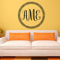 Wall Decal Monogram Letters Personalized Initial Name Decals Vinyl Stickers- Monogram Wall Art Living Room Nursery Bedroom Family Decor 0107