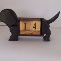 Black Doxie Perpetual Calendar by GualesWoodcrafts on Etsy