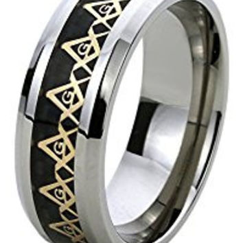 8MM Titanium Comfort Fit Wedding Band Ring Yellow Tone Masonic Symbol Inlayed Band