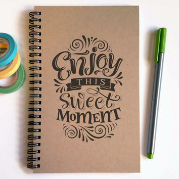 Writing journal, spiral notebook, cute diary, small sketchbook, scrapbook, memory book, 5x8 journal - Enjoy this sweet moment