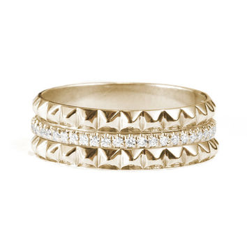 Eternity Diamond Ring with 2 Gold Pyramids - Unique diamond wedding ring. 14K Gold , 0.30 ct