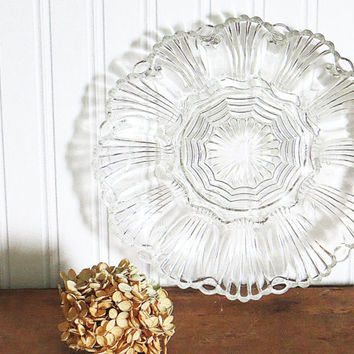 Deviled Egg Plate Clear Glass Anchor Hocking Wave Pattern 1950s