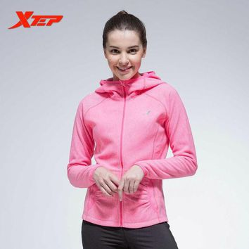 ONETOW XTEP Women Running Sports Jacket Hooded Breathable Ladies Baseball Jackets Long Sleeves Athletic Coats Sportswears  884328069074