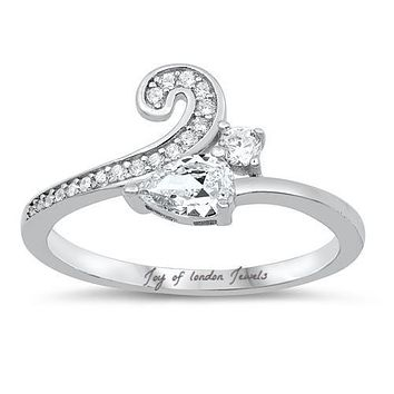 The Scroll, A Perfect 1CT Pear Cut Solitaire Russian Lab Diamond Engagement Ring