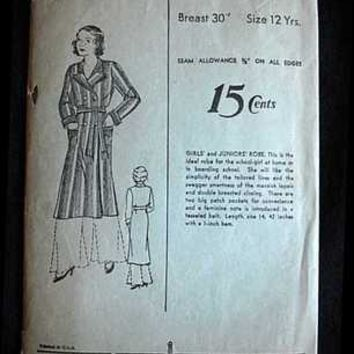 Vintage Sewing Pattern Advance #915 Girls' Robe 1930S