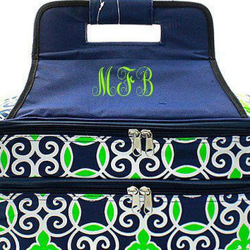 Navy Green Geometric Casserole Carrier   Insulated Casserole Carrier  Monogrammed Gifts