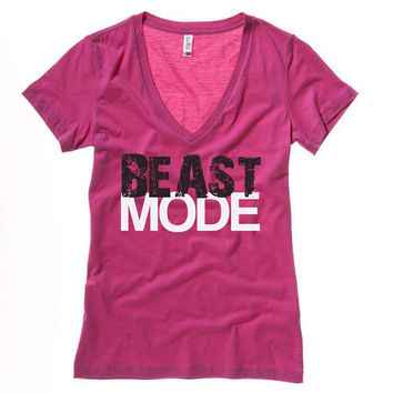 BEAST MODE Women's Workout V-Neck -Pink, Workout Shirt, Workout Clothing,Workout Shirts,Gym Shirt,Motivational Workout,Crossfit, Gym Clothes