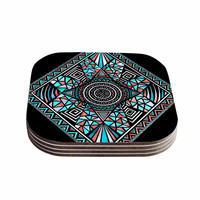 "Pom Graphic Design ""Geo Glass"" Teal Black Coasters (Set of 4)"