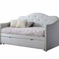 2 pc Palacial collection pearlescent grey leatherette tufted back day bed with trundle