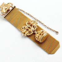 Antique Victorian Rosy Yellow Gold Filled Pocket Watch Chain & Fob - Edwardian Mesh Slide Ornate Clip Jewelry Charm Monogrammed ACG