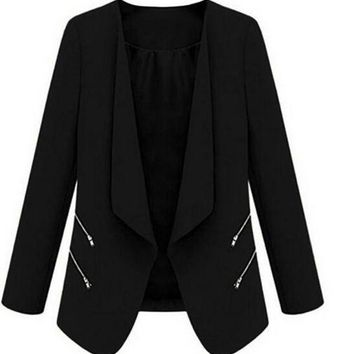 CREYG8W IMC Vintage Women Basic Slim Suit Foldable Blazer Slim Fit Jacket Cardigan Outwear