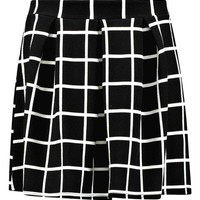 Arianna Check Textured Box Pleat Skater Skirt | Boohoo