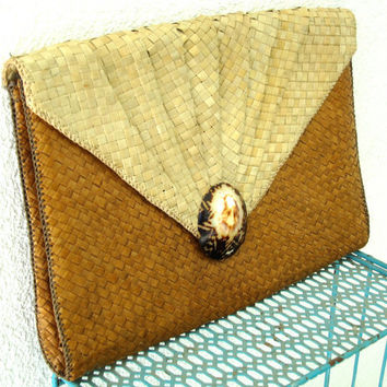 Woven Straw Envelope Clutch Purse - Vintage - Palm Leaf - Natural Seashell - Jumbo Large - Two Tone Light & Cocoa Caramel