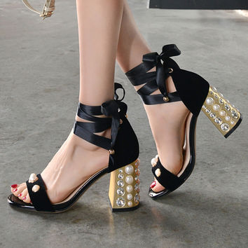 Women sandals gladiator with high cross-tied sandal 2017 summer new shoes genuine leather lace up ladies pearls thick high heels