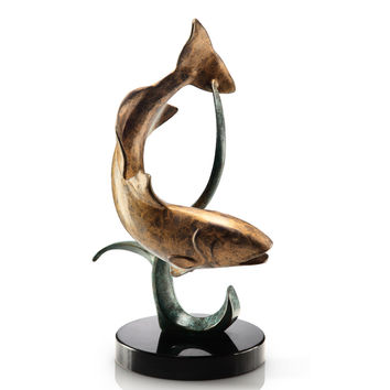 SPI Shallow Water Fighter Redfish Marble and Brass Sculpture