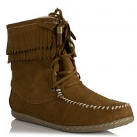 Soda Shoes Tying-S - Black, Chestnut, Light Taupe Moccasin Style Fringe Faux-Suede Flat Ankle Boot | Shoetopia.com