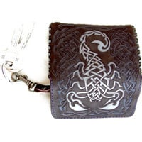 "Leather Case ""Scorpion"". Protective Pouch key. Use thin Hand-Carved technology on the leather, special paints. Privat Design. Exclusive gift"