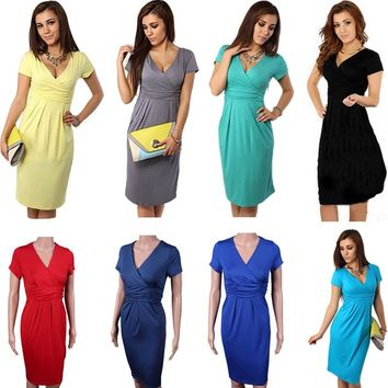 Hot S Sexy Women Pregnant Maternity Dress V-Neck Slim Bodycon Dresses Short Sleeve Stretch Wrap Basic Pregnant Clothing