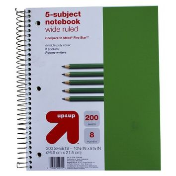 Up & Up 200ct 5-Subject Wide Ruled Notebook