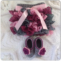 Orchid Purple, Pink, Grey Newborn Tutu Skirt & Flower Dress Shoes Set Infant Clothes MORE COLORS Sizes (nb shown) trendy baby spring Fashion