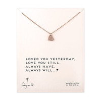rose gold love you always sparkle heart necklace, 18 inch