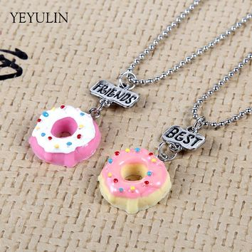 Lovely Imitation Food Popcorn Donuts Resin Pendants Necklace Lettering Best Friend Alloy Bead Chain Necklace For Friend's Gift