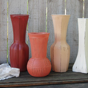 Shabby chic fall vases