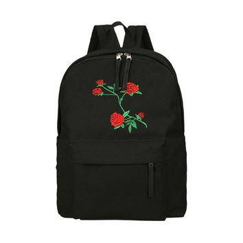 Rose Embroidered Black Backpack