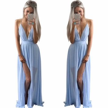Long Dress Women New Summer Beach Wear SKy blue Color Deep V Neck Split Slip Sleeveless Maxi Dress